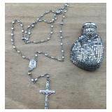 Vintage Sterling Rosary in Mesh Rosary Bag