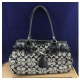 Lightly Used Black and Gray Coach C Purse