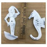 White Cast Iron Seahorse and Mermaid Hooks