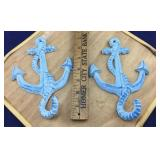 Pair of Blue Cast Iron Anchor Hanging Hooks