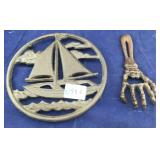 Cast Iron Boat Trivet and Skeletal Hand Opener