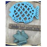Cast Iron Fish Trivet and Little Flat Frog