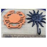 Cast Iron Crab Trivet + Sun Hanging Hook