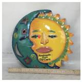 Handmade & Painted Metal Sun/Moon Art