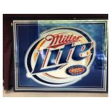 Large Framed Miller Lite Mirror Sign