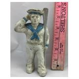 Small Vintage Cast Iron Sailor Bank