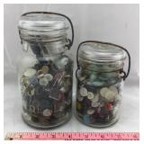 Two Vintage Glass Canning Jars Full of Old Buttons