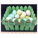 Wooden Basket Filled with Hollow Plastic Eggs
