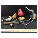 Wooden Carved Birds, Resin Bird and Bell
