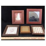 Lot of Small Wooden Frames with Art & Mirror