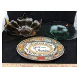 Amber Flower Dish, Green Bowl & Thanksgiving Dish