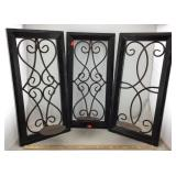 Wooden Framed Wrought Iron Candle