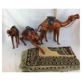 3 Camel Statues & Small Indian Style Rug