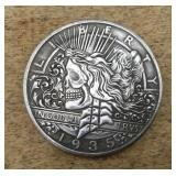 Hobo Skeleton Head Coin on One Dollar Eagle Coin