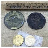 Huge Vintage Souvenir Coins + Pr of Smaller Coins