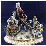 Vintage Porcelain Highly Decorated 3 Person Statue