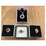 3 Goldtone Costume Rings + Silvertone Necklace