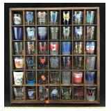 Shot Glass Collection with Wooden Display Shelf