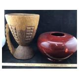 Lacquered Wooden Vase & Carved Wooden Piece