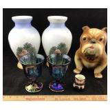 Vintage Vases, Bulldog Bank, Carnival Glass, Etc.