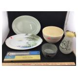 Pottery Bowls, Vintage Pitcher & Thermometer