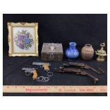 Vintage Pottery, Gun Keychains, Bank & More