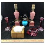 Cranberry Glass, Vintage Lamps & More