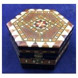 Small Inlaid Box and 8 Rings/ 3 Marked Sterling