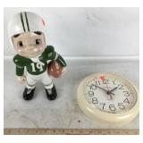 Clock + Football Player Statuette
