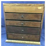Vintage Handmade Wooden Box With 4 Drawers