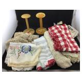 Vintage Tablecloths & 2 Hat Stands