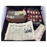 Coach Handbag & Egyptian Bag with Newspaper