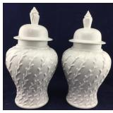Pair of Tall White Vine Patterned Ginger Jars