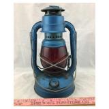 Vintage Blue Lantern w/red glass