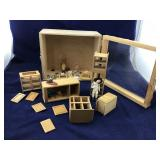 Wooden Doll House Display Box and Fixtures