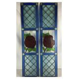 Pair of Stained Leaded Glass Rose Windows