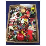 Box of Vintage & Cloth & Wooden Ornaments