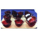 Anchor Hocking/Fire King Ruby & Bubble Cups