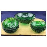 Vintage Dark Green Burble Pattern Berry Bowl Set