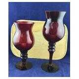 Pair of Large Ruby Red Pier One Candleholders