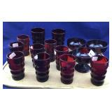 14 Pcs of Vintage Royal Ruby Sherbets and Glasses