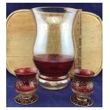 3 Pcs of Red and Gold Pier One Deco Glassware