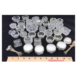 Large Assortment of Glass Salt Cellars and More
