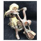 Carved Wood Tiki Motorcycle Sculpture