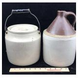 Stoneware Jar with Handle and a Crock Jug