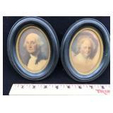 Framed Portraits of George and Martha Washington