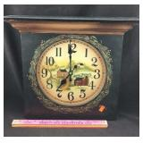 Wall Clock with Painted Country Scene