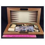 Folding Wood Chess/Checkers/Backgammon Set