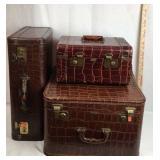 3 Vintage Alligator Leather Suitcases