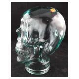 Large Light Green Glass Skeleton Head